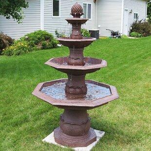 Astoria Grand Durrett Fiberglass/Resin 4 Tier Octagon Pineapple Outdoor Water Fountain