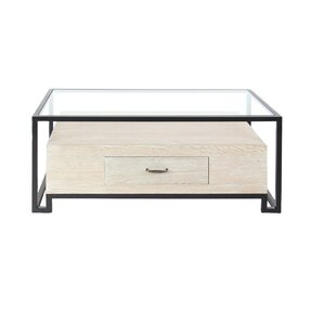 17 Stories Ashel Modern Iron and Glass Coffee Table with Wooden Bottom Drawer