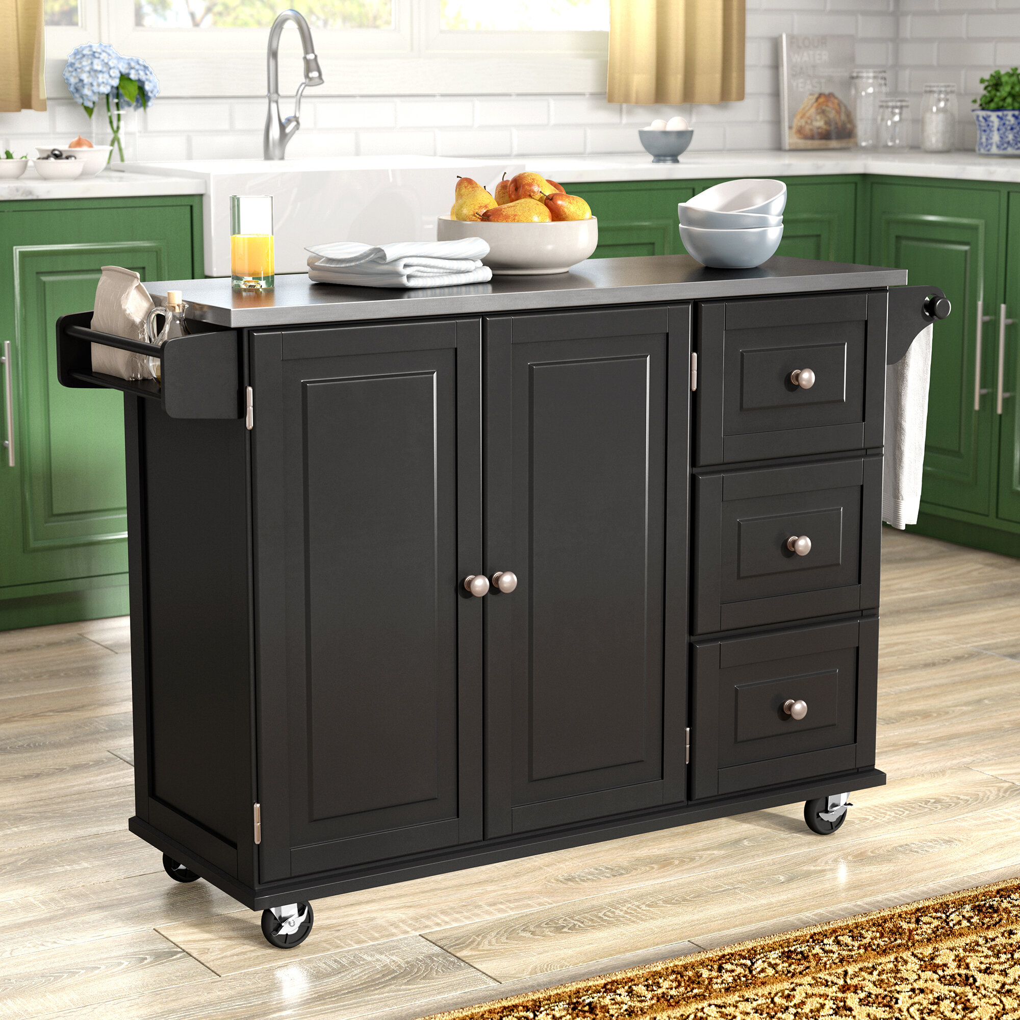 Andover Mills Kuhnhenn Kitchen Island With Stainless Steel Top Reviews Wayfair