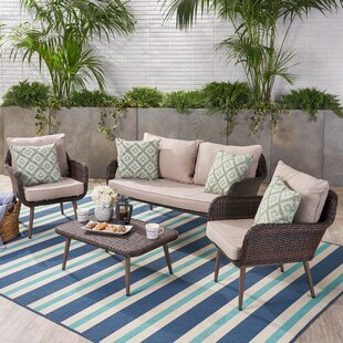 Frankfort Outdoor Rattan Sofa Set with Cushions by Ivy Bronx