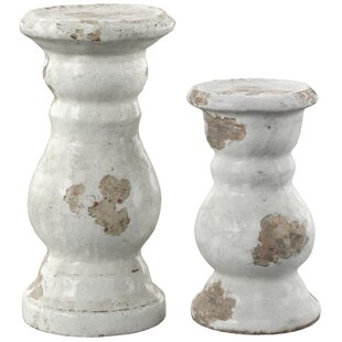 2 Piece Ceramic Candlestick Set