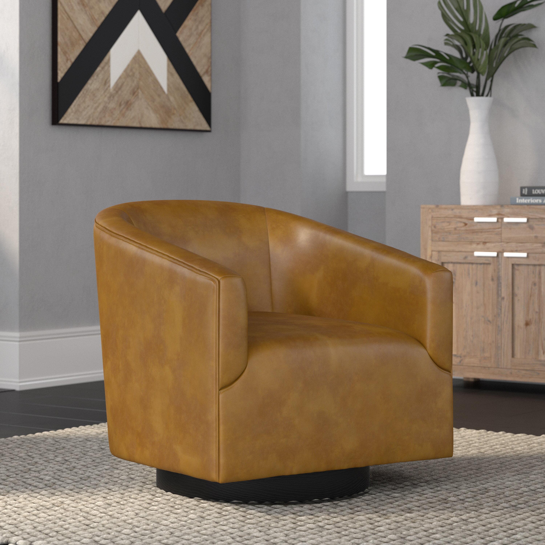 Mcintyre 30 W Faux Leather Swivel Barrel Chair Reviews