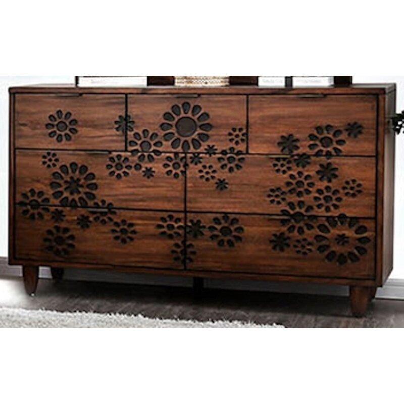 Canora Grey Turco Burnt Wood Floral Pattern Design 7 Drawer Double Dresser Wayfair