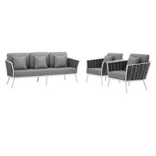 Rossville 3 Piece Sofa Seating Group with Cushions