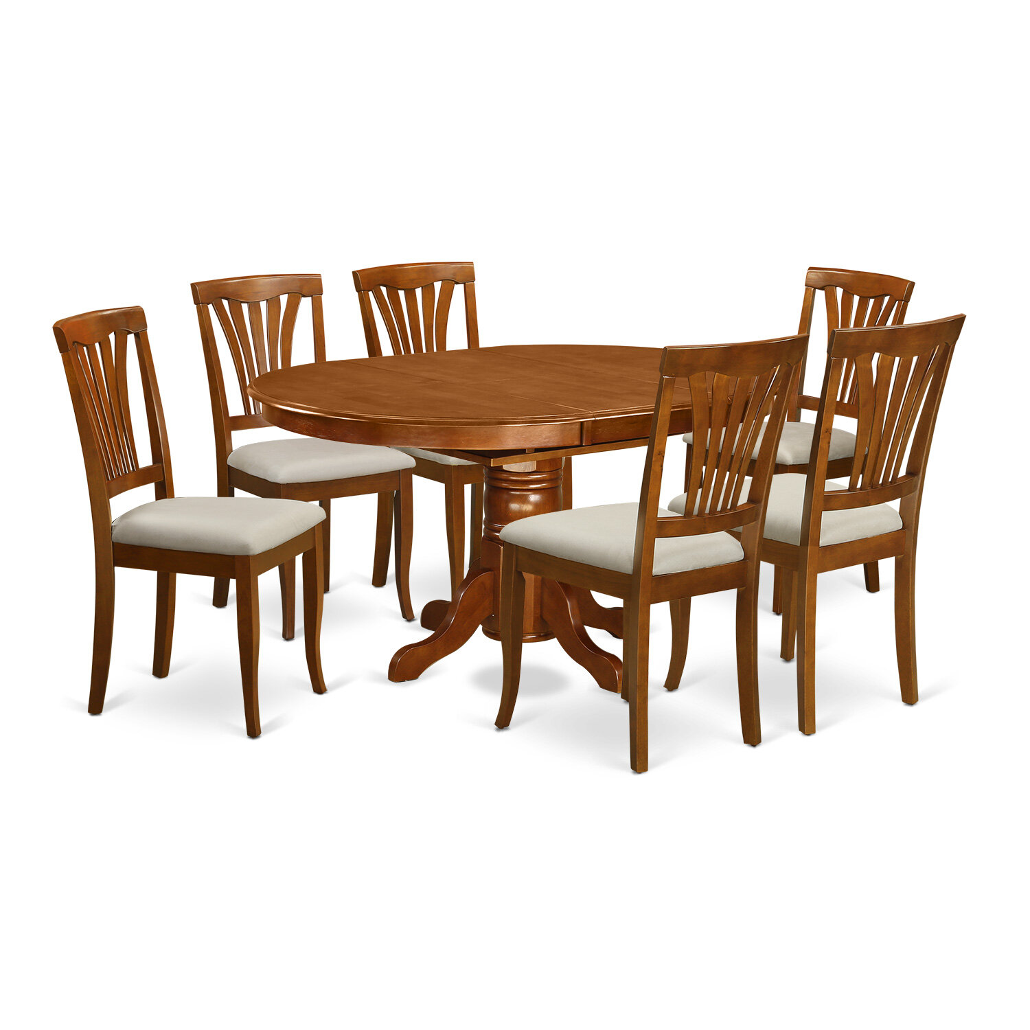 August Grove Spurling 7 Piece Extendable Solid Wood Dining Set In Saddle Brown Reviews Wayfair