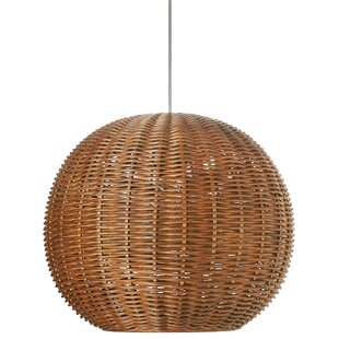 Beachcrest Home Pirhan Wicker 1-Light Globe Pendant