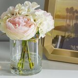 Hydrangea and Rose Floral Arrangement in Glass Vase by Willa Arlo Interiors