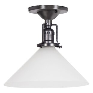 Shumway 1-Light Frosted White Glass Semi Flush Mount by Breakwater Bay