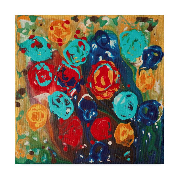 Abstract Flowers Acrylic Painting Print On Wrapped Canvas