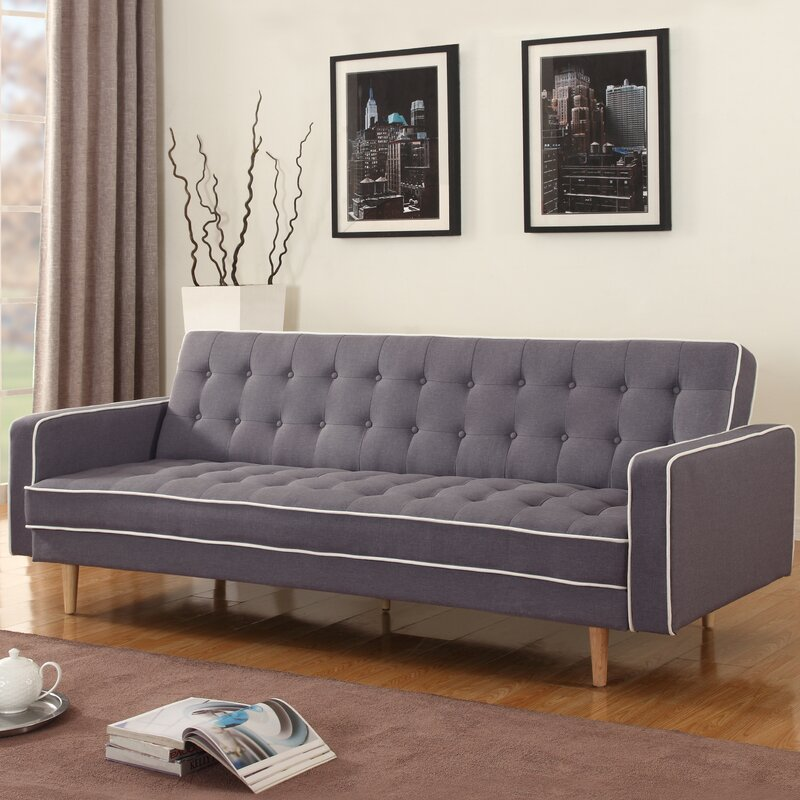 Noe Mid-Century Modern 2 Tone Convertible Sofa