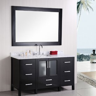 Claravale 60 Single Modern Bathroom Vanity Set with Mirror by Wade Logan