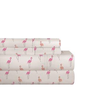 Bay Isle Home Stodola Flamingos 200 Thread Count 100% Cotton Sheet Set