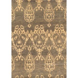 Ikat Hand-Knotted Gray/Beige Area Rug