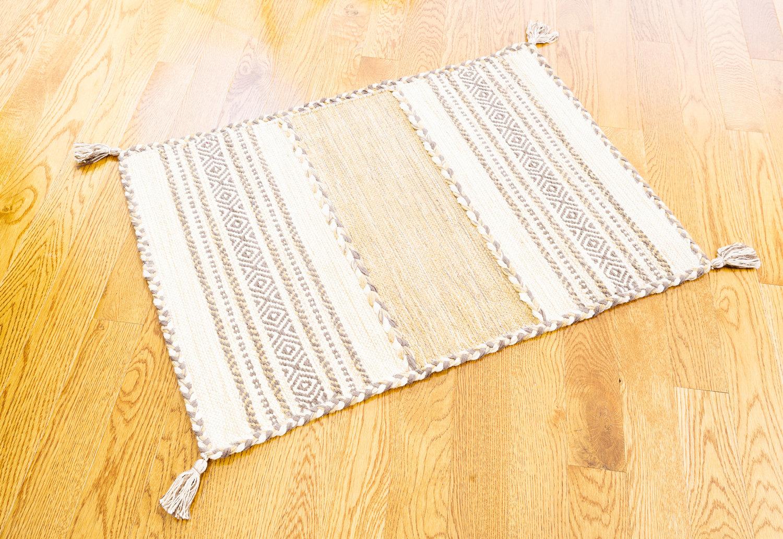 Dakota Fields Tonal Braided Tassel Plaid Hand Knotted Cotton Cream Area Rug Wayfair