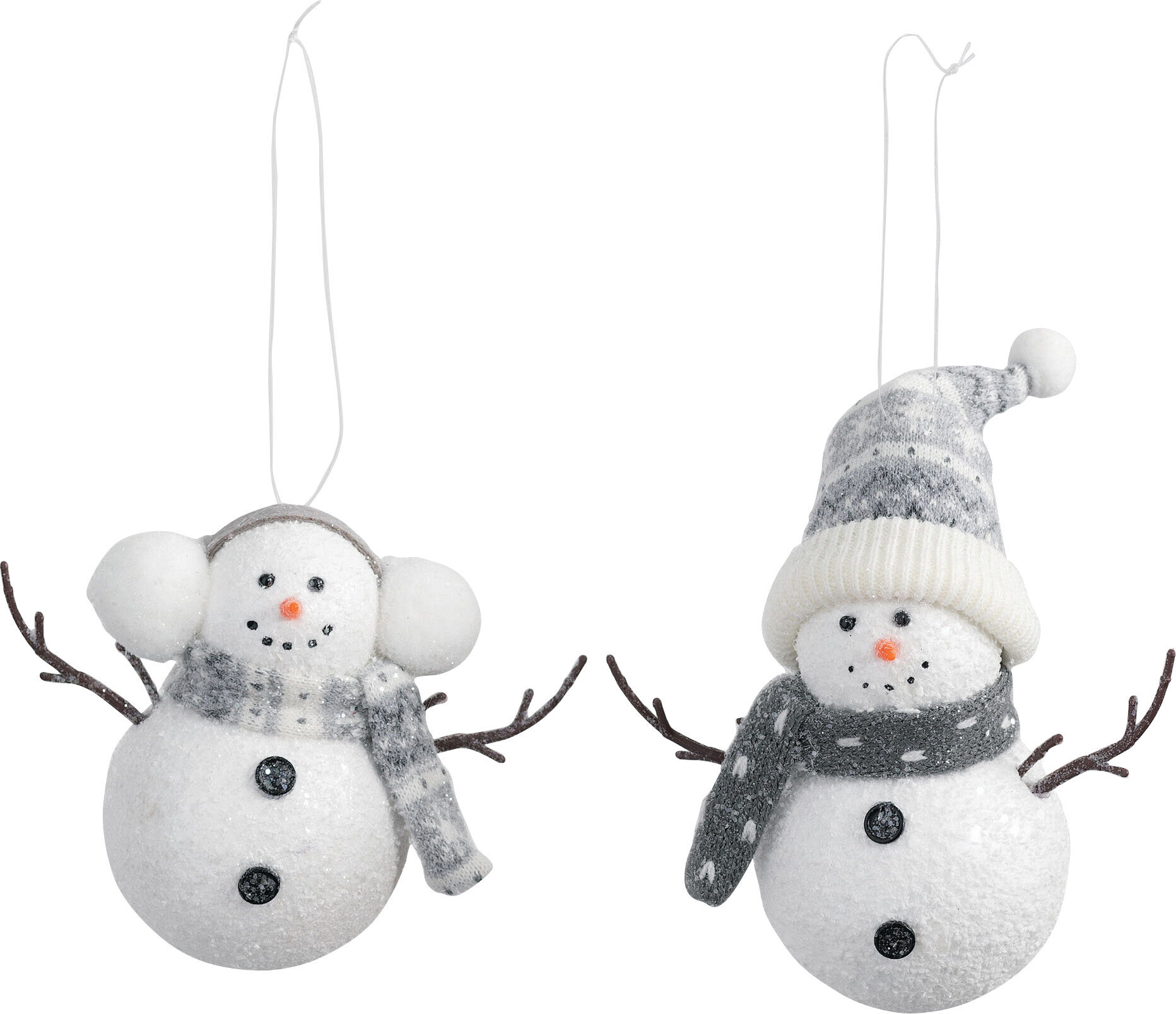 2 Piece Cozy Snowman Holiday Shaped Ornament Set Birch Lane