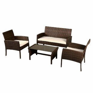 Annabella 4 Piece Rattan Sofa Set with Cushions