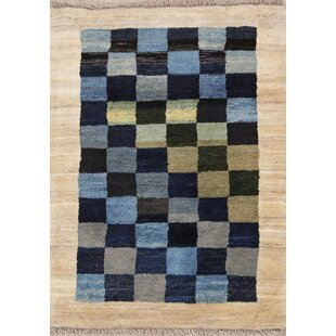 Great Price One-of-a-Kind Drennan Checked Zolanvari Shiraz Gabbeh Persian Hand-Knotted 3' x 4' Wool Blue/Black/Beige Area Rug By Isabelline