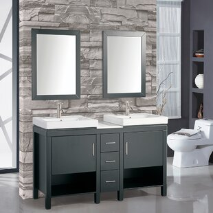 Chauncy 60 inch  Wood Base Double Sink Bathroom Vanity Set with Mirror