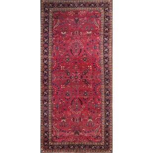 One-of-a-Kind Kristanna Vintage Maroon Kerman Lavar Palace Persian Hand-Knotted 8'10 x 18'5 Wool Red/Blue Area Rug by Isabelline