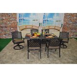 Wes 7 Piece Dining Set with Cushions