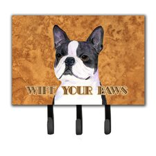 Boston Terrier Wipe Your Paws Leash Holder and Key Holder by Caroline's Treasures