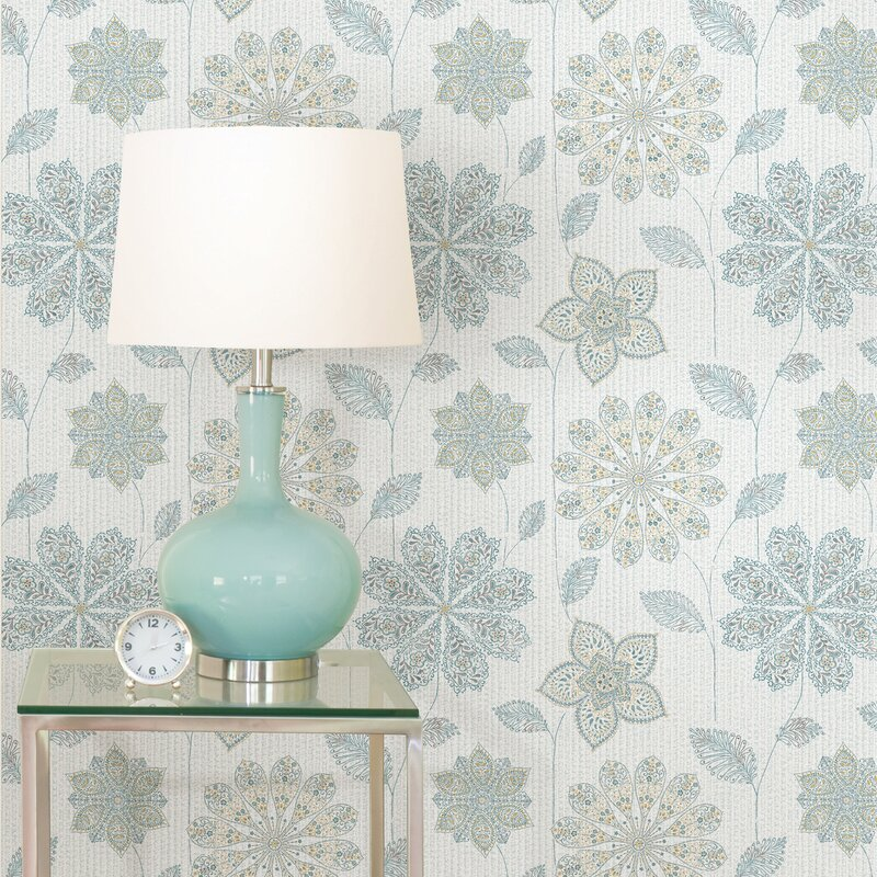 "Nu 18' x 20.5"" Gypsy Floral Blue / Green Peel and Stick Wallpaper"