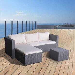 Cleethorpes 3 Piece Rattan Sectional Seating Group with Cushions
