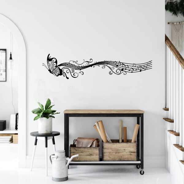 Ebern Designs Butterfly And Music Notes Vinyl Wall Decal Wayfair