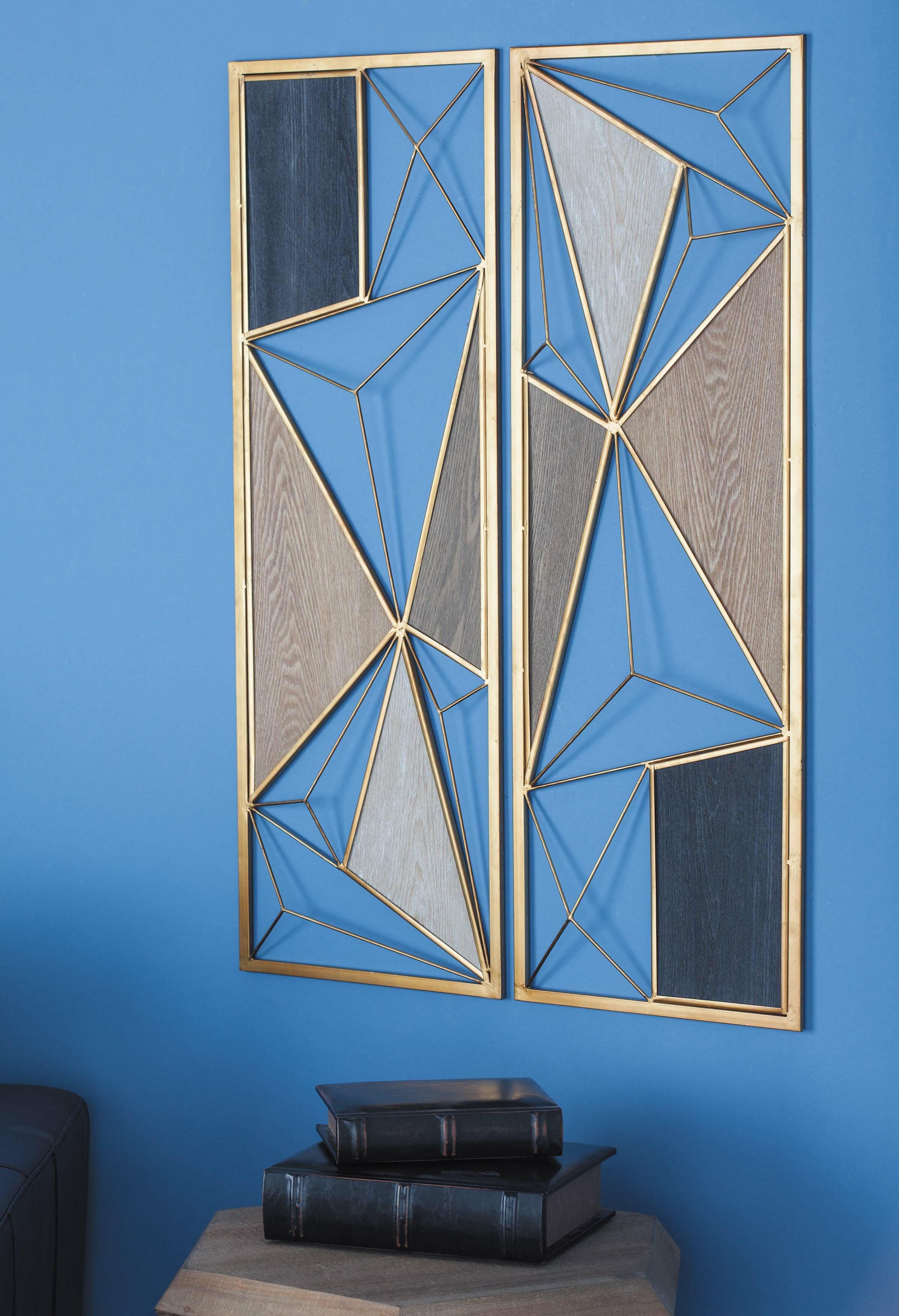 Cosmoliving By Cosmopolitan 2 Piece Metal Wood Wall Decor Set Reviews Wayfair