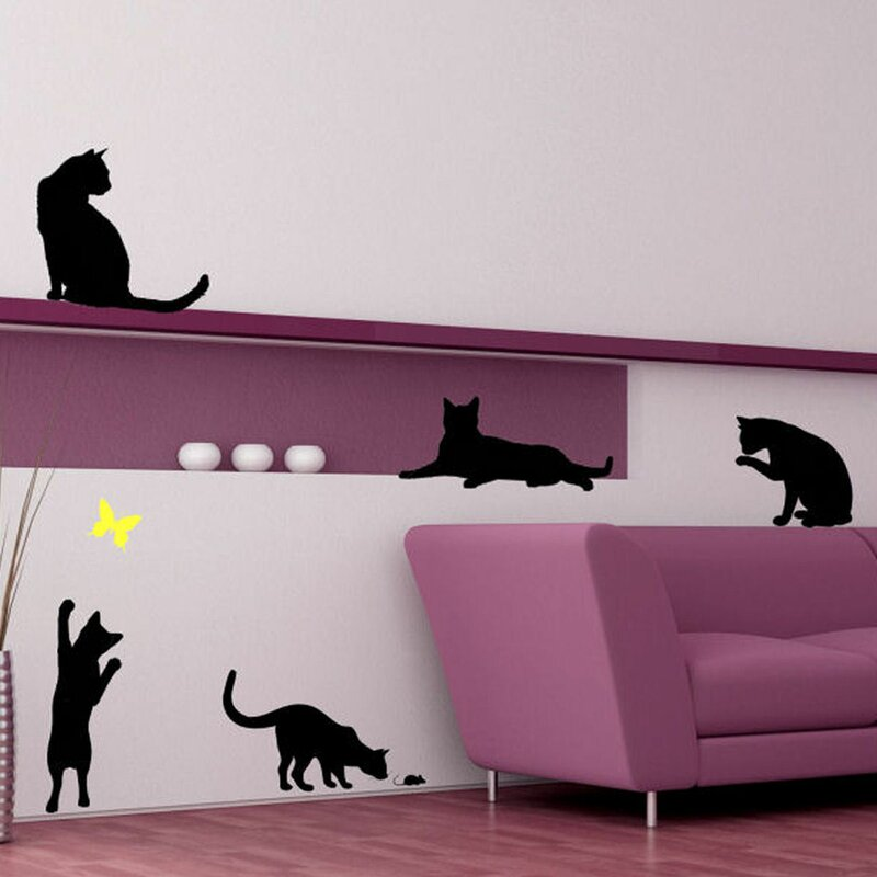 decalthewalls cats with a butterfly wall decal & reviews | wayfair
