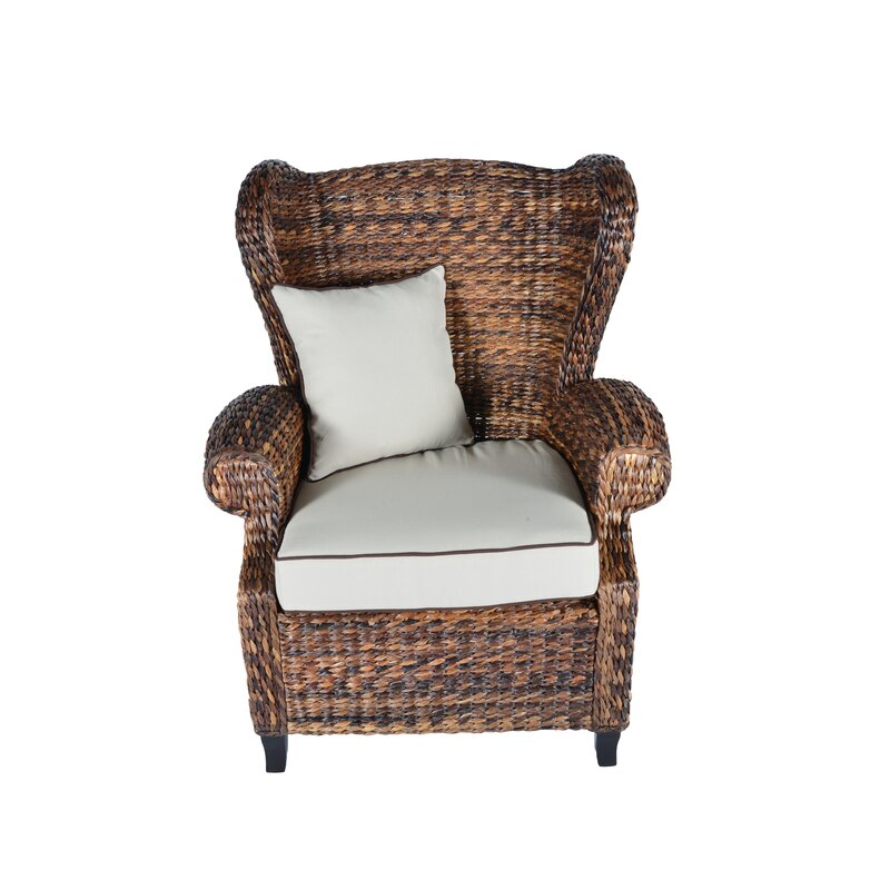 Bayou Breeze Averi Indoor/Outdoor Rattan Rolled Wingback Chair with ...