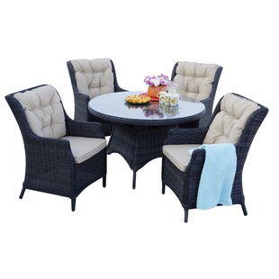 Audra 5 Piece Dining Set with Cushions