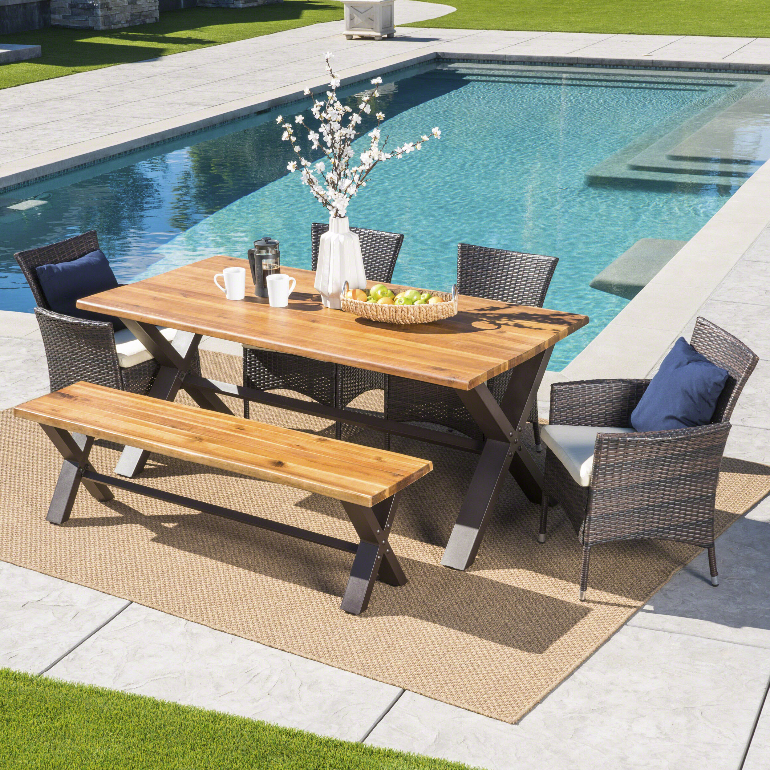 Brayden Studio Arbus Outdoor 6 Piece Dining Set With Cushions | Wayfair