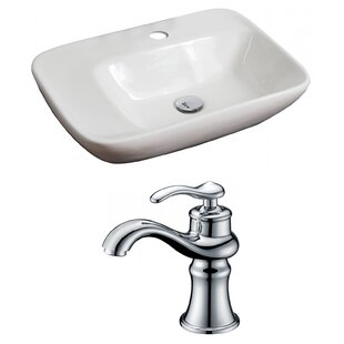 Best Deals Above Counter Ceramic Rectangular Vessel Bathroom Sink with Faucet ByRoyal Purple Bath Kitchen