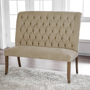 Emilia Chenille Counter Height Upholstered Bench by One Allium Way