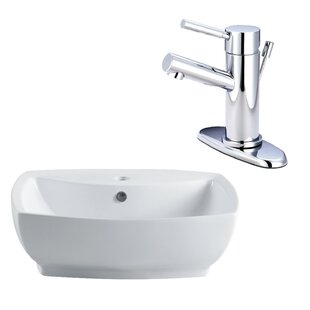 Bargain Ceramic Rectangular Vessel Bathroom Sink with Faucet and Overflow By Kingston Brass