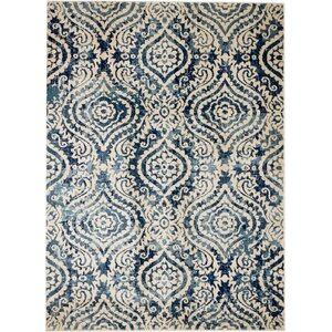 Amy Royal Trellis Cream/Blue Area Rug