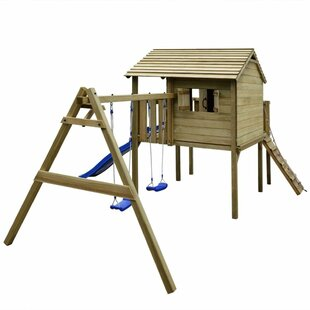 Wooden Playhouse With Ladder Slide Swing Set By Freeport Park