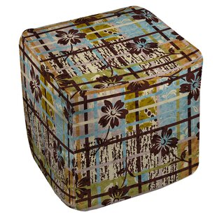 Floral Study in Plaid Pouf by Manual Woodworkers & Weavers