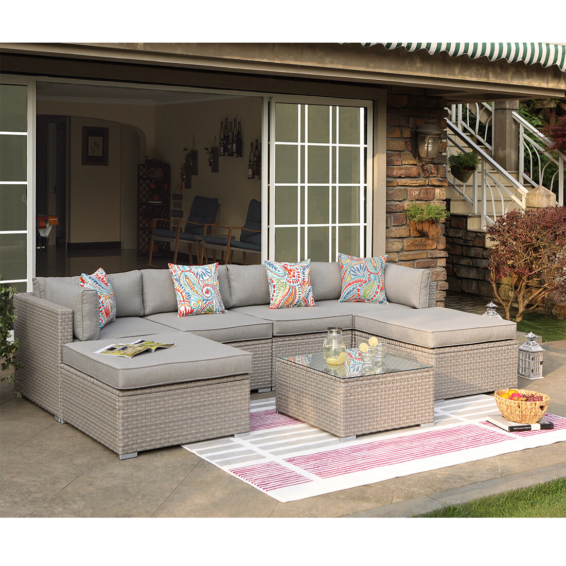 Rhinegeist 7-Piece Outdoor Furniture Warm Gray Wicker Family Sectional Sofa  W Thick Cushions, Glass Top Coffee Table, 2 Ottomans, 4 Floral Fantasy ...