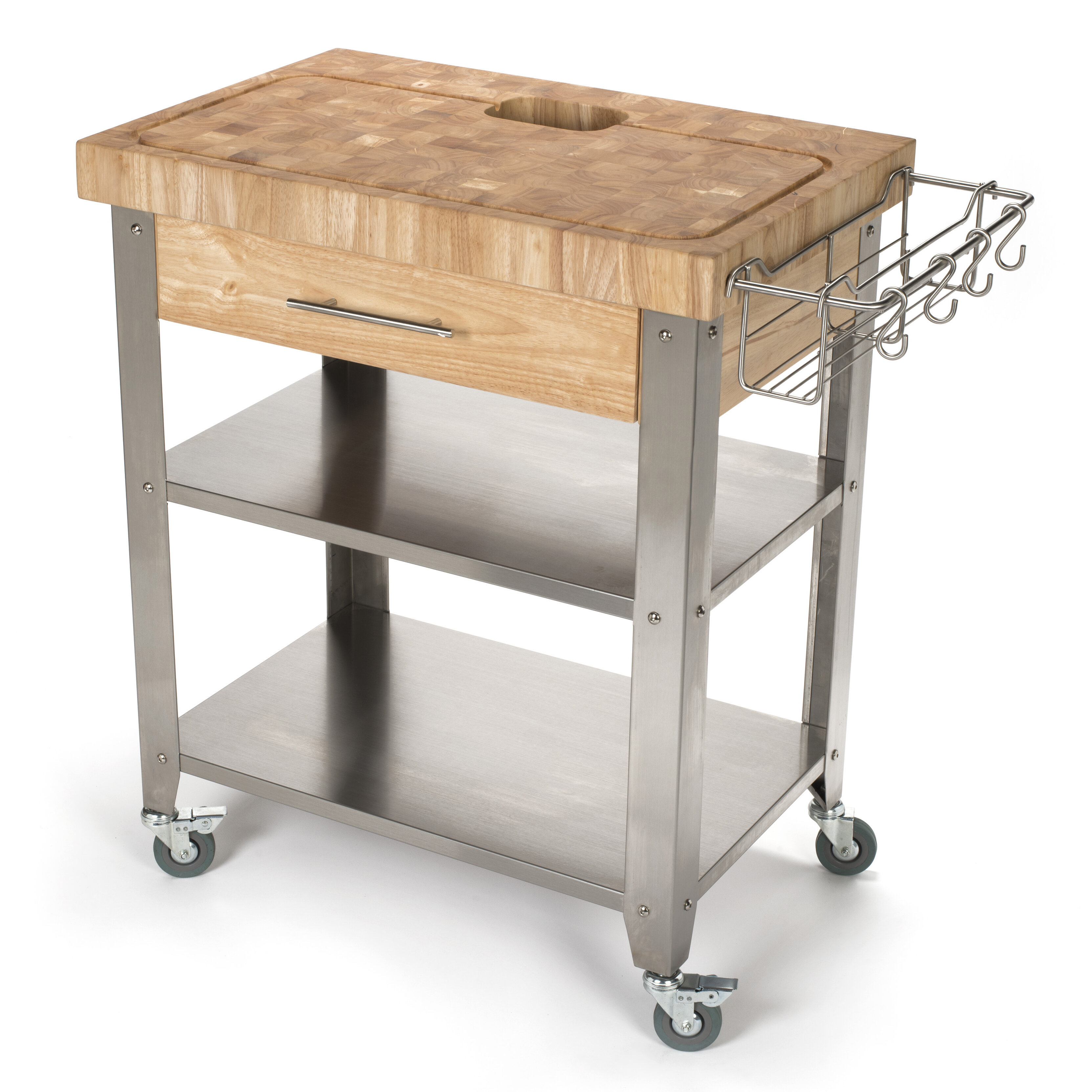 Seville Classics Rolling Oval Solid-Bamboo Butcher Block Top Kitchen Island  Cart with Storage, 30\