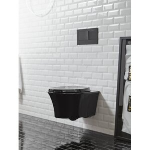 white toilet with black seat. Veil One Piece Elongated Dual Flush Wall Hung Toilet with Reveal Quiet  Black Mount Toilets You ll Love Wayfair