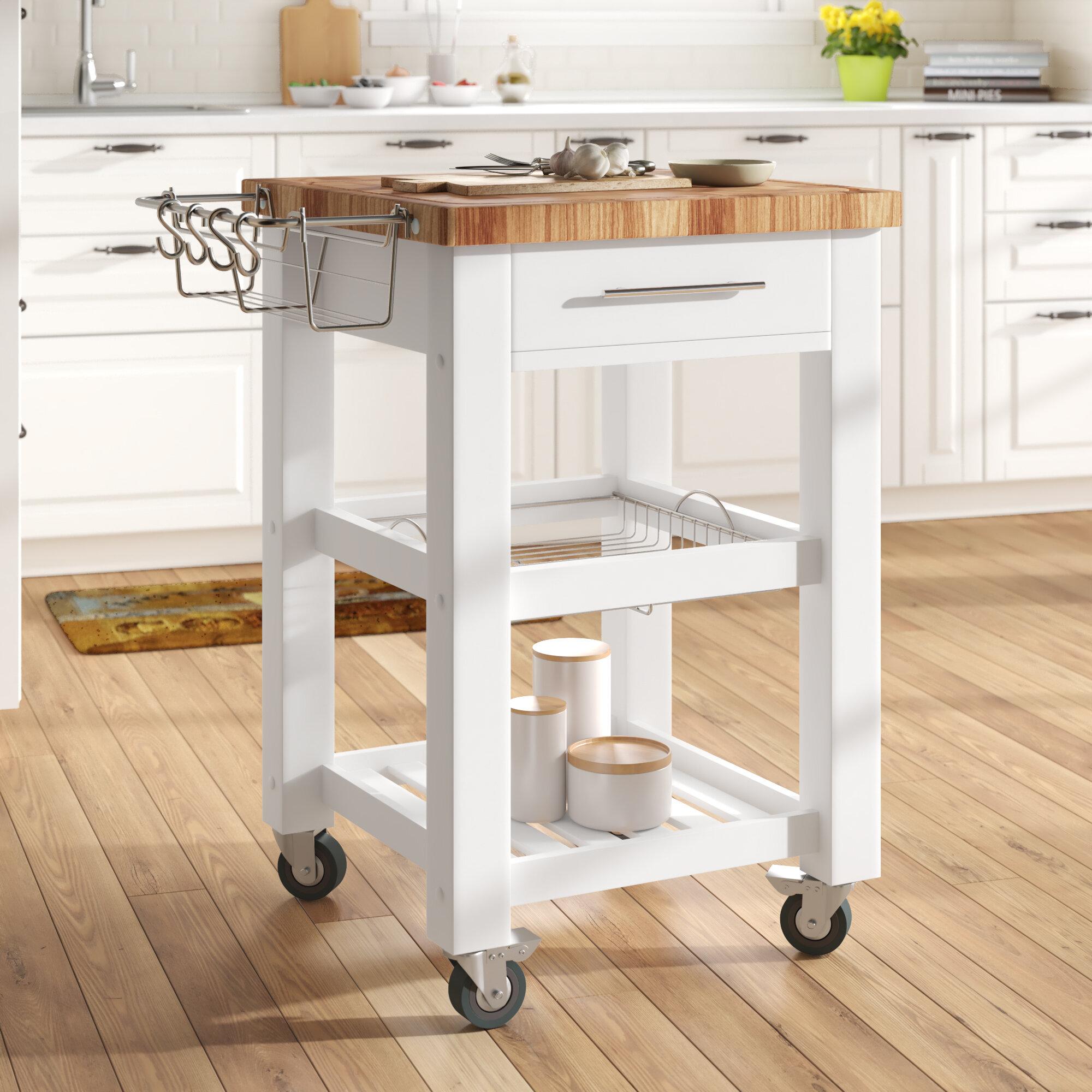 Sydney Kitchen Cart with Butcher Block Top
