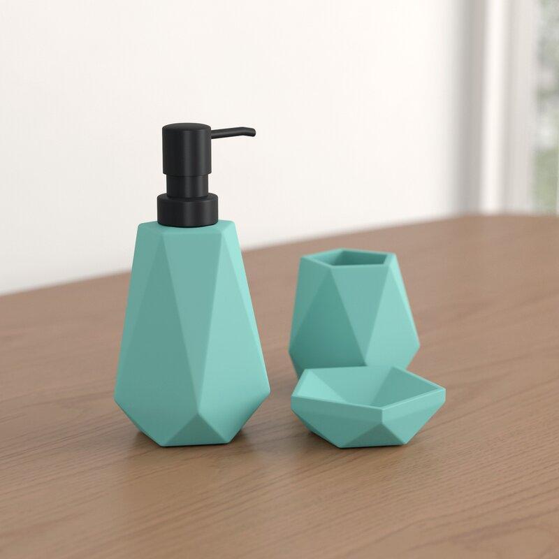 6 Piece Decorative Bathroom Accessory set Made of Ceramic Maya Aqua