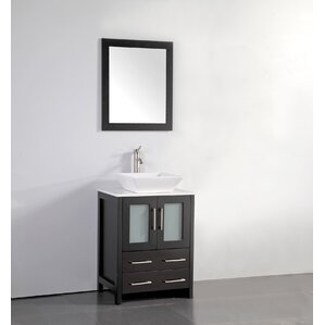 Meeki 24  Single Bathroom Vanity Set with Mirror Vessel Sink Vanities You ll Love Wayfair