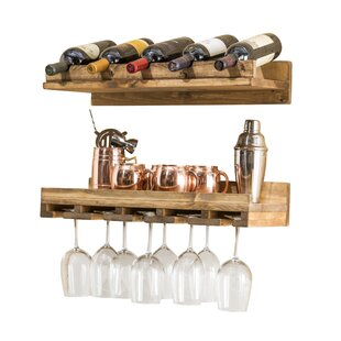 Union Rustic Oconner Wall Mounted Wine Bottle and Glass (Set of 2)