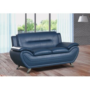 Zipcode Design Lester Modern Living Room Faux Leather Loveseat