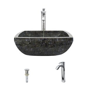 Inexpensive Butterfly Stone Square Vessel Bathroom Sink with Faucet ByMR Direct