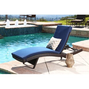 Battista Outdoor Wicker Reclining Chaise Lounge with Cushion