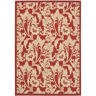 Short Red / Creme Indoor/Outdoor Area Rug